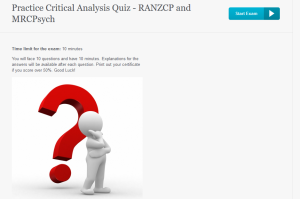 Practice Critical Appraisal/Analysis Quiz - RANZCP and MRCPsych Exam