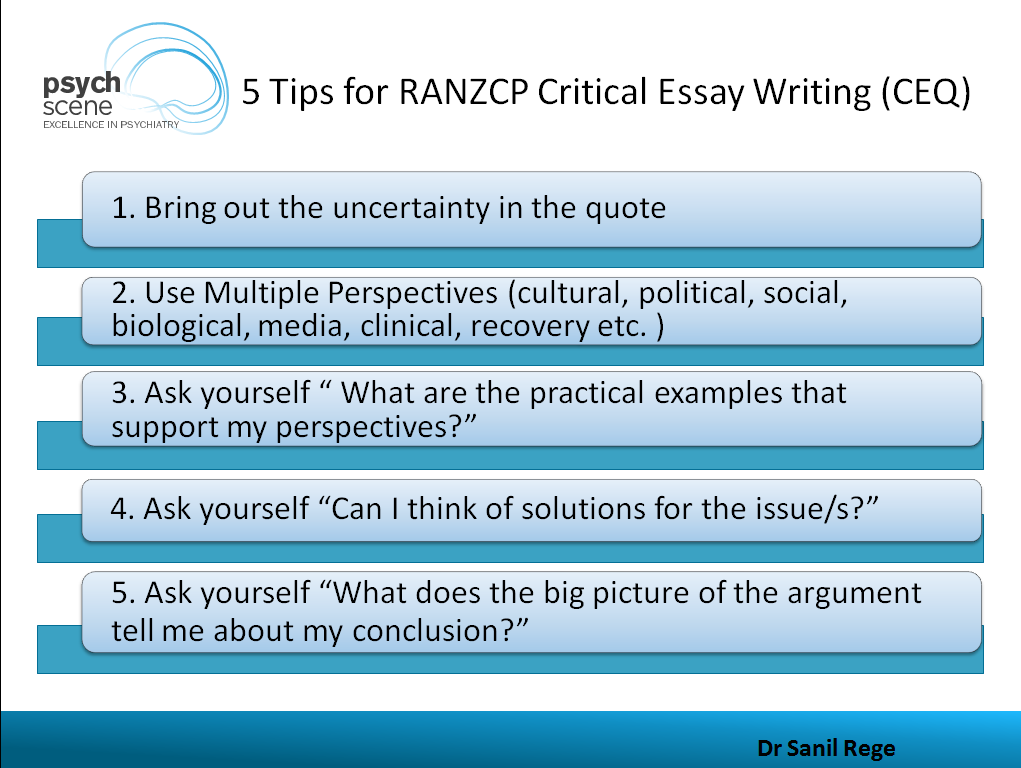 Critical Tips For Ranzcp Critical Essay Writing Ceq